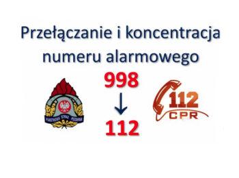Plakat opisujący proces przełączania numeru alarmowego 998 do Centrum Powiadamiania Ratunkowego pod numer 112