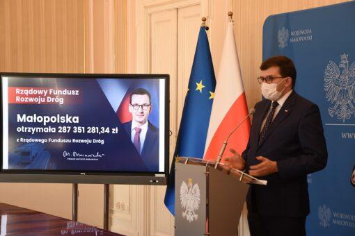 Wojewoda małopolski prezentuje listę zadań finansowanych w ramach Rządowego Funduszu Rozwoju Dróg