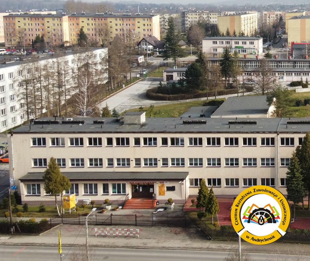 budynek CKZiU w Andrychowie z lotu ptaka