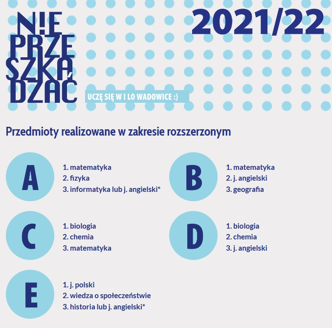 w nowym roku szkolnym LO w Wadowicach proponuje naukę 5 profili