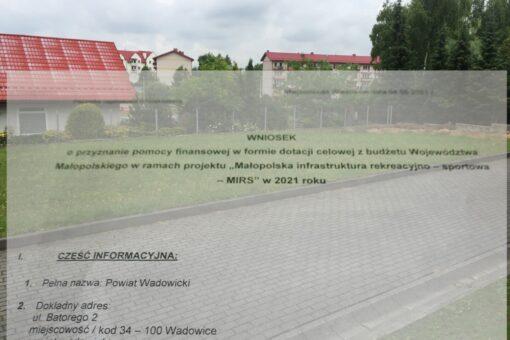 jeszcze w tym roku przy ZSiPO w Kalwarii Zebrzydowskiej powstanie nowe boisko